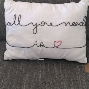 """NWT POTTERY BARN """"ALL YOU NEED IS ❤️"""" PILLOW"""